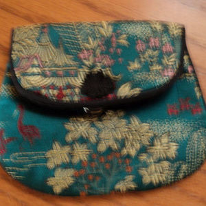 Vintage Asian print Jewelry pouch